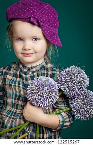 little girl flowers - stock photo
