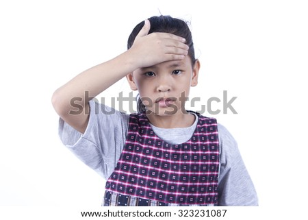 Little girl  having a headache sick - stock photo