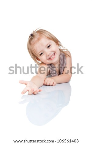 Little girl hold extended hand palm sitting at table happy smile isolated over white background concept of child ask for give gesture - stock photo