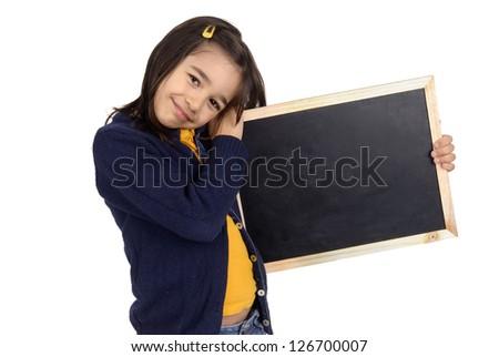 little girl holding a blackboard - stock photo