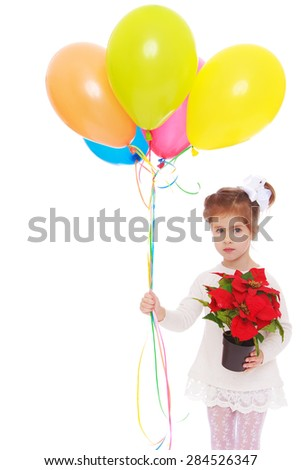 Little girl holding a flower pot and balloons- isolated on white background - stock photo