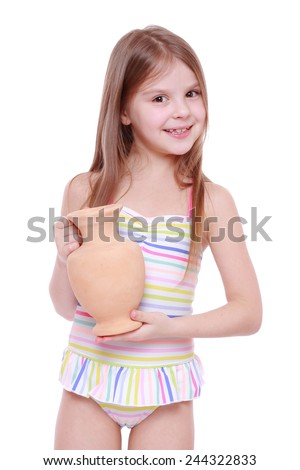 little girl holding amphora - stock photo