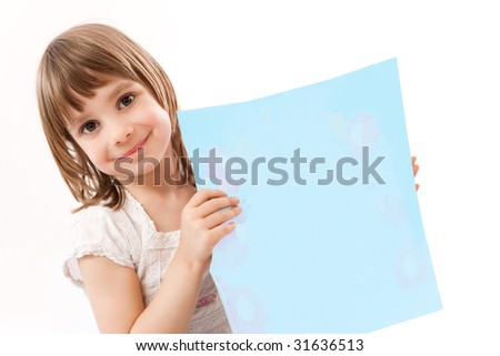 Little girl holding card for text - stock photo