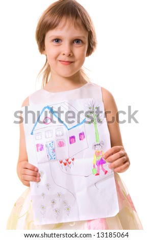 little girl holding her picture. over white background - stock photo
