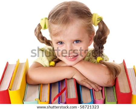 Little girl holding pile of books. Isolated. - stock photo