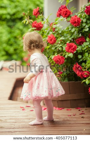 Little girl in a beautiful pink dress stands near red roses bush. Back view. - stock photo