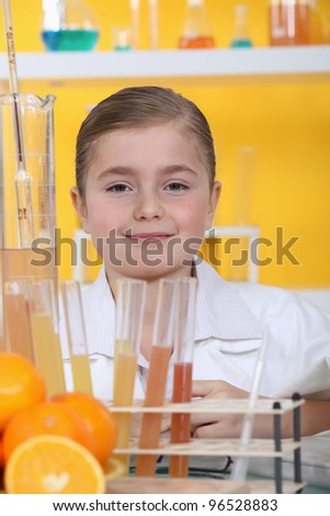 little girl in a lab - stock photo