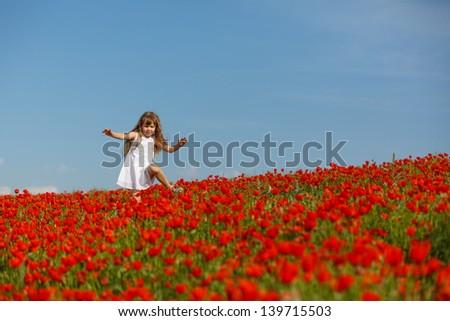 little girl in a poppy field - stock photo