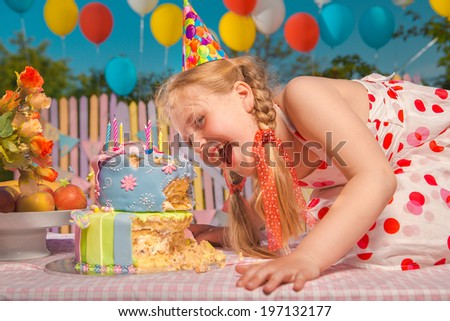 Little girl in anticipation of the holiday  - stock photo
