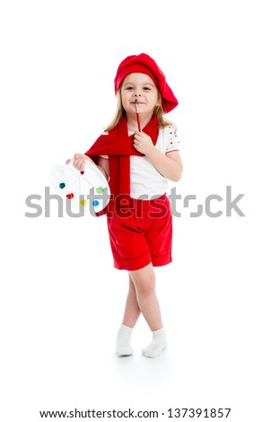 little girl in artist costume isolated - stock photo