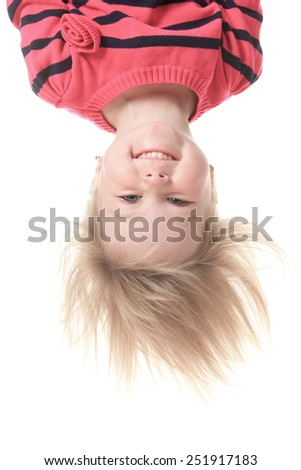 Little girl in butterfly costume on white background - stock photo
