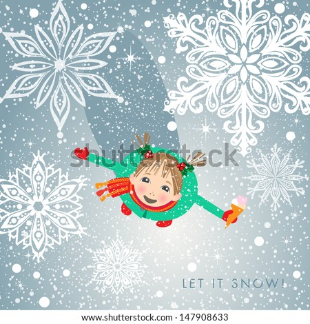 Little girl in cute outfit fascinated with first snow. Holiday concept. - stock photo