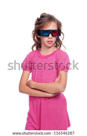 little girl in 3d glasses watching animated cartoon. isolated on white background - stock photo