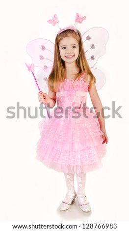 Little girl in fairy costume on a white background - stock photo