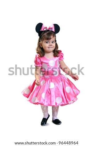 little girl in  fancy dress. On  white background - stock photo