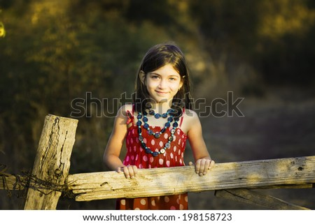 Little girl in fashion dress and bag front of an old wooden fence - stock photo