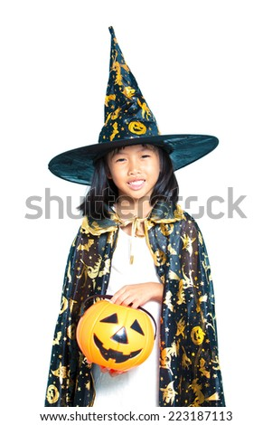 Little girl in Halloween dress isolate on white background - stock photo