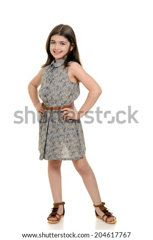 little girl in pretty summer dress - stock photo