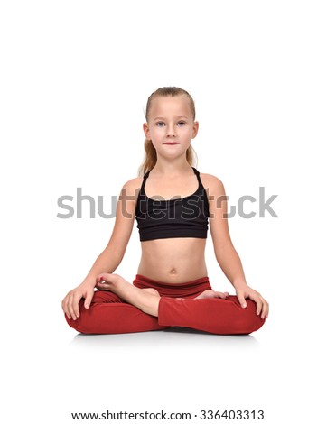 Little girl in red clothing sitting lotus position on white background - stock photo