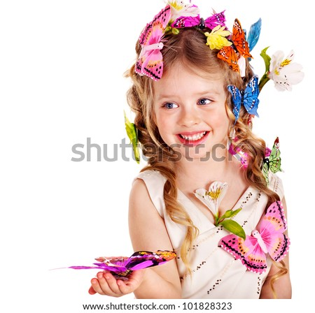 Little girl in spring hairstyle and butterfly. Isolated. - stock photo