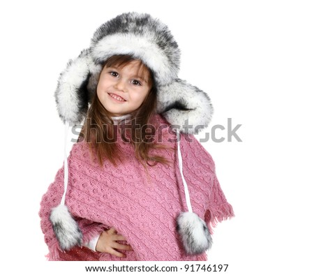 little girl in warm hat isolated on white - stock photo