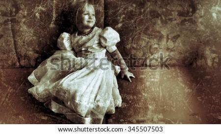 Little girl in wedding dress - stock photo