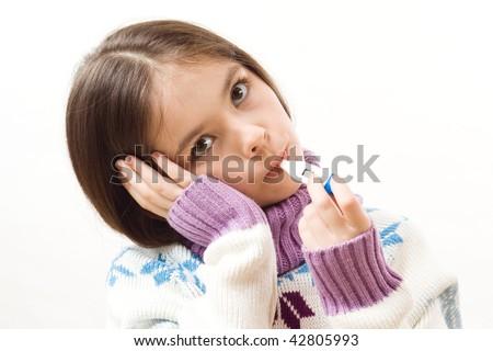 Little girl is ill - stock photo