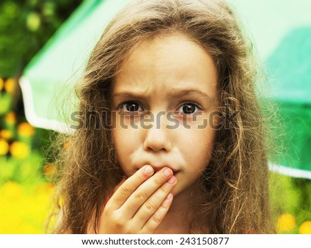Little girl is shocked and surprised - stock photo