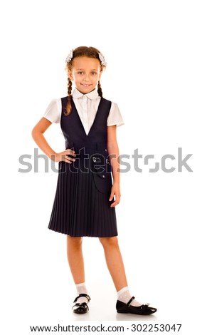 little girl isolated on a white background - stock photo