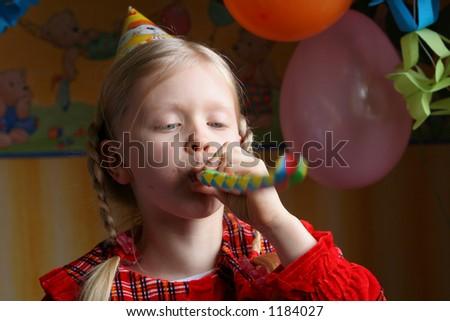 Little girl making noise - stock photo