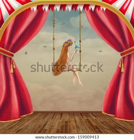 Little girl on a swing - stock photo