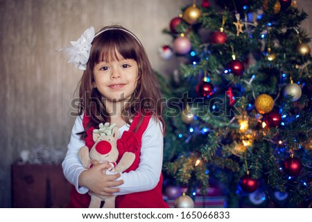 Little girl on christmas - stock photo