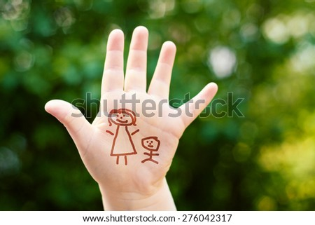 little girl on mothers day - background for greeting card - stick man figure mom and daughter - stock photo