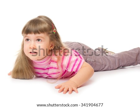 Little girl on the floor - stock photo