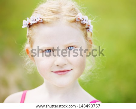 little  girl outdoor - stock photo