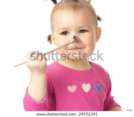 Little girl paint on her nose, isolated over white - stock photo