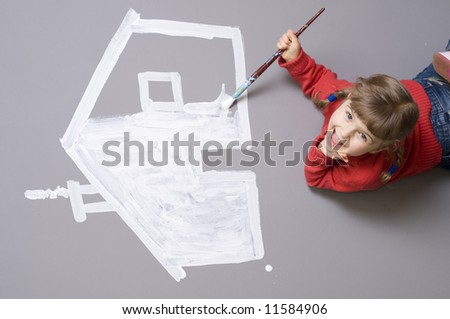 Little girl painting house symbol - stock photo