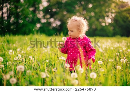little girl playing in a field of dandelions - stock photo