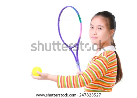 Little girl playing tennis on white background - stock photo