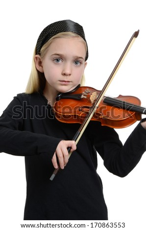 little girl playing violin isolated white background - stock photo