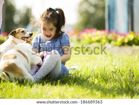 Little girl playing with dogs - stock photo
