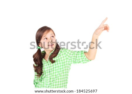 little girl pointing something closeup - stock photo