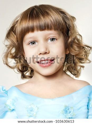 little girl portrait smiling - stock photo