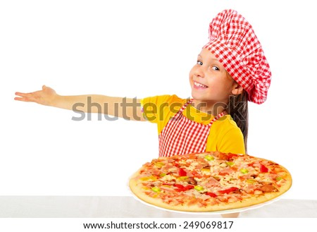 Little girl preparing homemade pizza - stock photo