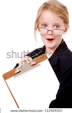 Little girl pretending to be a business woman - stock photo