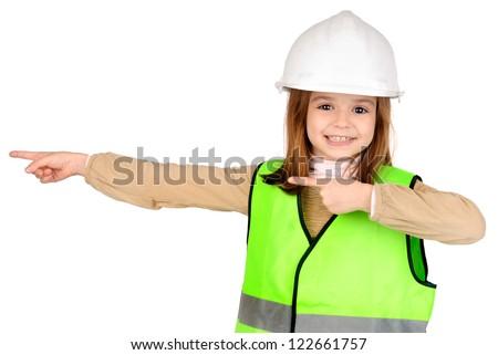 little girl pretending to be a traffic warden - stock photo