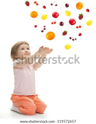 Little girl reaching her hands out - stock photo