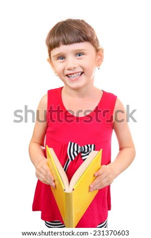 Little Girl reads a Book Isolated on the White Background - stock photo