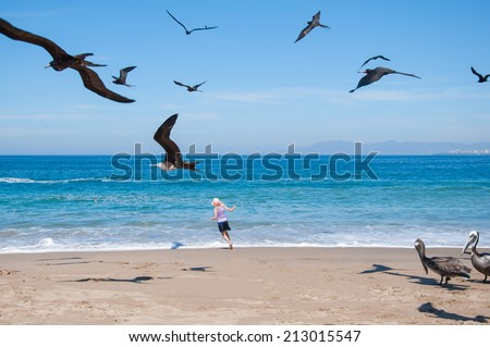 Little girl running in ocean with seagull - stock photo
