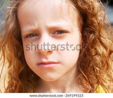 little girl sad smoke - stock photo